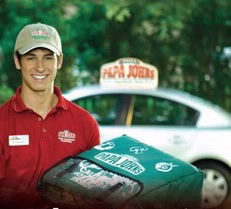A man delivering Papa John's brand pizza